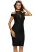 Black Bodycon Short Sleeve Paneled Dress