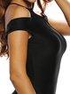 Black Bodycon Short Sleeve Paneled Dress