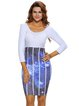 White Elegant Scoop Neckline Abstract Patchwork Dress