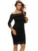 Black Off Shoulder Elegant Scalloped Lace Dress
