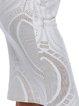 White Geometric Slit Plunging Neck Long Sleeve Dress