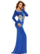 Blue Lace Embellished Floral Elegant Slit Evening Dress