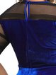Royal Blue Half Sleeve A-line Velvet Dress
