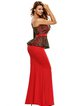 Red Peplum Mermaid One Shoulder Long Sleeve Dress