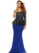 Blue Embroidered Long Sleeve One Shoulder Mermaid Dress