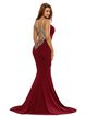 Red Lace Appliqued Spaghetti Mermaid Dress