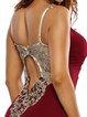 Red Lace Appliqued Spaghetti Mermaid Dress