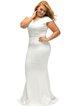 White Beaded Scalloped Mermaid V Neck Elegant Dress