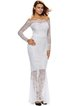 White Long Sleeve Mermaid Elegant Off Shoulder Lace Dress