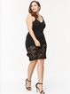 Black Lace Paneled Spaghetti Solid Dress