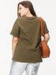 Olive Green Crew Neck Casual Solid Top
