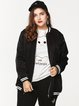 Black Stand Collar Pockets Long Sleeve Outerwear