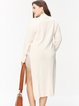 Apricot Long Sleeve Slit Turtleneck Longline Sweater