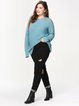 Long Sleeve Crew Neck H-line Solid Ribbed Casual Sweater
