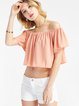 Pink Girly Ruffled Off Shoulder Crop Top