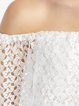 White Pierced Girly Solid Off Shoulder Crop Top