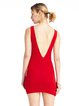 Red Slit Solid Sexy V Neck Dress