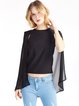 Black Asymmetric Sleeveless Chiffon Going Out Top