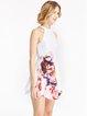 White Floral-print Sleeveless Halter Girly Dress