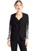 Black Sequins Embellished Long Sleeve V Neck Blazer