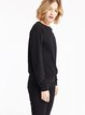 Black Embroidered Cold Shoulder Elegant Sweatshirt