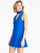 Blue Cutout Sleeveless Solid Dress