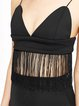 Black Solid Sexy Fringed Spaghetti Cami Top
