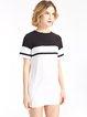 White Color-block Short Sleeve H-line Dress