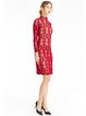Red Floral Crocheted Lace Elegant Stand Collar Dress
