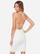 Strappy Back Spaghetti Solid Sexy Plunging Neck Dress