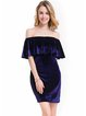 Off Shoulder Elegant Ruffled H-line Velvet Dress