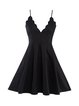 Black Spaghetti Cocktail Folds Cotton-blend Dress