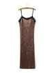 Brown Pleated H-line Spaghetti Velvet Dress