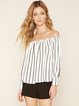 White Stripes Casual Off Shoulder Top