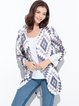 Multicolor Long Sleeve Geometric Dipped Hem Coat