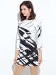 White 3/4 Sleeve Printed Crew Neck H-line Dress