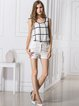 White Casual Chiffon Scoop Neckline Plaid Tank Top