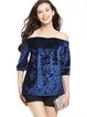 Half Sleeve Solid Velvet Off Shoulder Top
