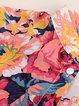 Pink Floral-print Chiffon Stand Collar Shirt