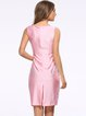 Lace Trim Square Neck Solid Sleeveless Sheath Dress