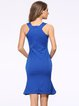 Square Neck Solid Mermaid Ruffled Elegant Dress