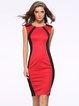 Crew Neck Elegant Color-block Short Sleeve Dress
