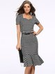Black Flounce Elegant Houndstooth Woven Dress with Belt