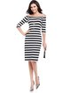 Black Sheath Stripes Casual Off Shoulder Dress