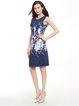 Floral-print Polyester Sleeveless H-line Dress