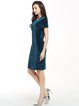 Short Sleeve Solid Simple Velvet Dress