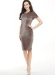 Gray Short Sleeve Velvet Sheath Solid Dress