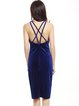 Strappy Back Scoop Neckline Spaghetti Velvet Sheath Dress