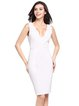 White Scalloped Plunging Neck Solid Sleeveless Dress