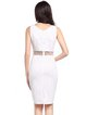 White V Neck Sleeveless Paneled Sheath SolidDress